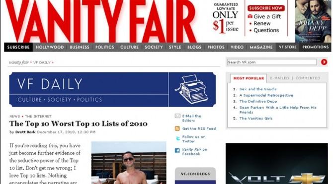 Vanity Fair prezintă topul celor mai proaste topuri din 2010