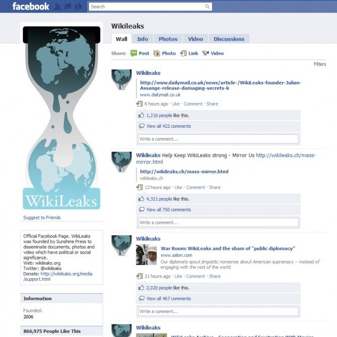 wikileaks, facebook