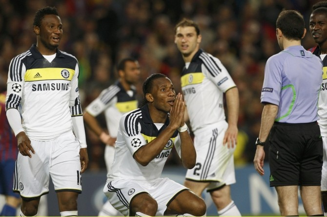 Chelsea's Didier Drogba reacts after the referee awarded a penalty against Barcelona during their Champions League semi-final second leg soccer match at Camp Nou stadium in Barcelona