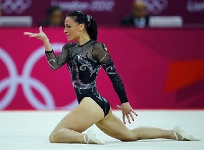 Romania's Catalina Ponor competes in the women's gymnastics floor exercise final in the North Greenwich Arena during the London 2012 Olympic Games