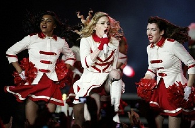 U.S. pop singer Madonna performs on stage during her MDNA tour at the National Stadium in Warsaw