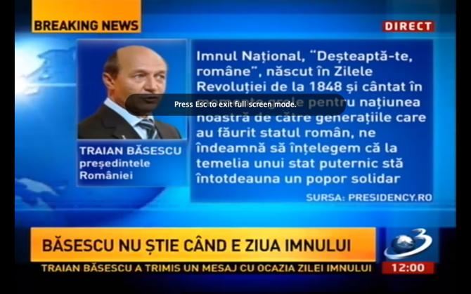 Gafă Băsescu