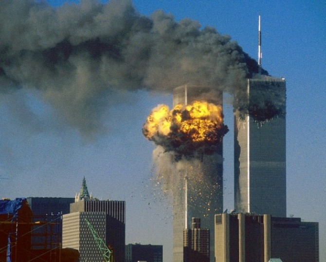 File photo of The World Trade Center south tower bursting into flames after being struck by hijacked United Airlines Flight 175 in New York City