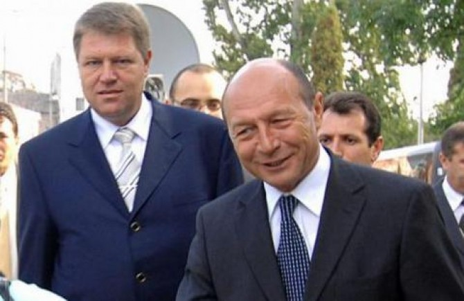 Photo of Klaus Johannis & his friend politician  Traian Băsescu  -