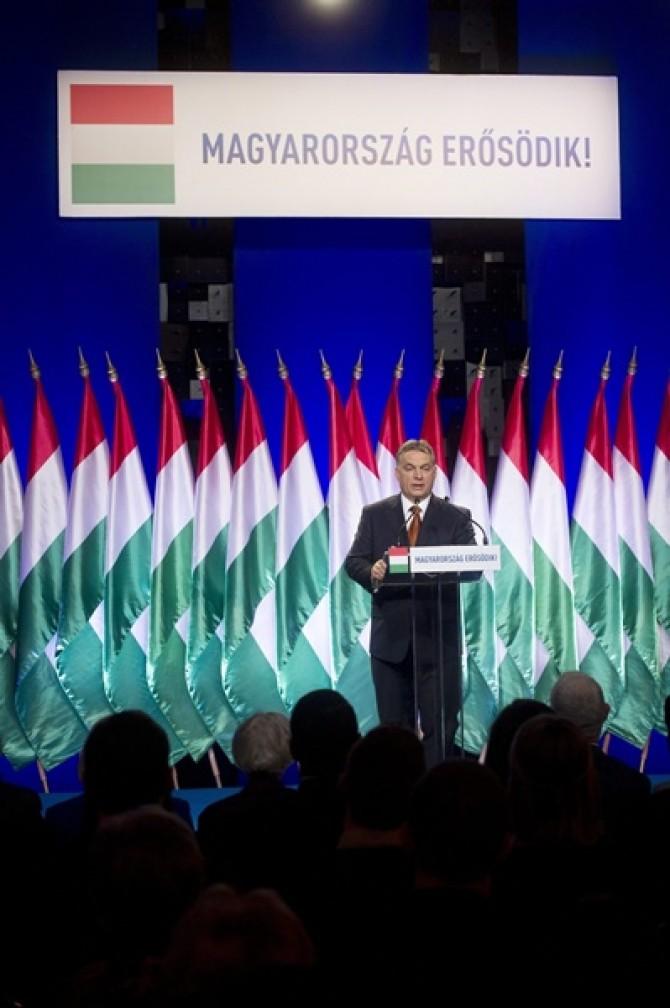 Viktor Orban în timpul discursului anual. Foto: MTI, Koszticsák Szilárd