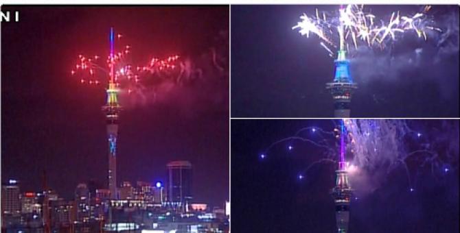 Foto: Twitter. Artificii Noua Zeelandă Revelion 2016