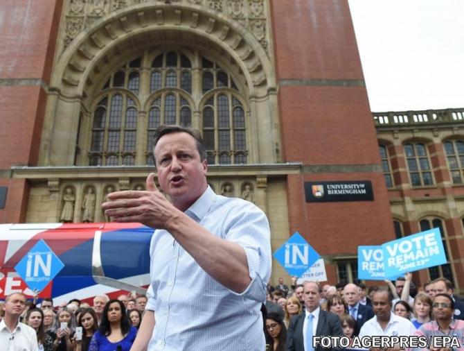 Premierul britanic, David Cameron, îndeamnă  britanicii să voteze rămânerea în Uniunea Europeană