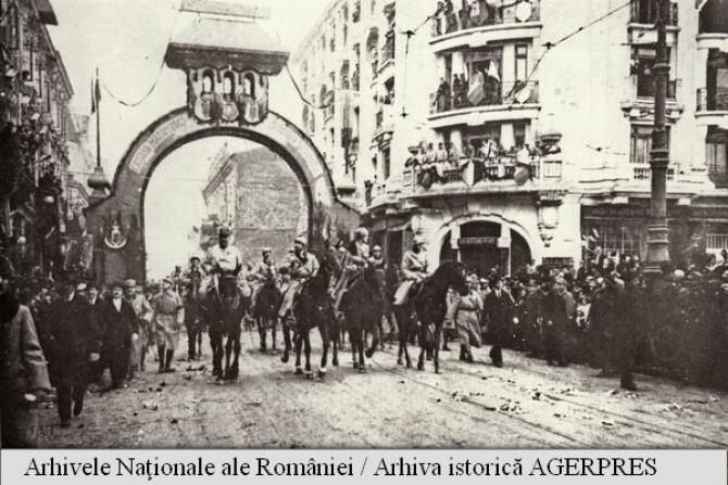 Intrarea în București a regelui Ferdinand și a reginei Maria în decembrie 1918