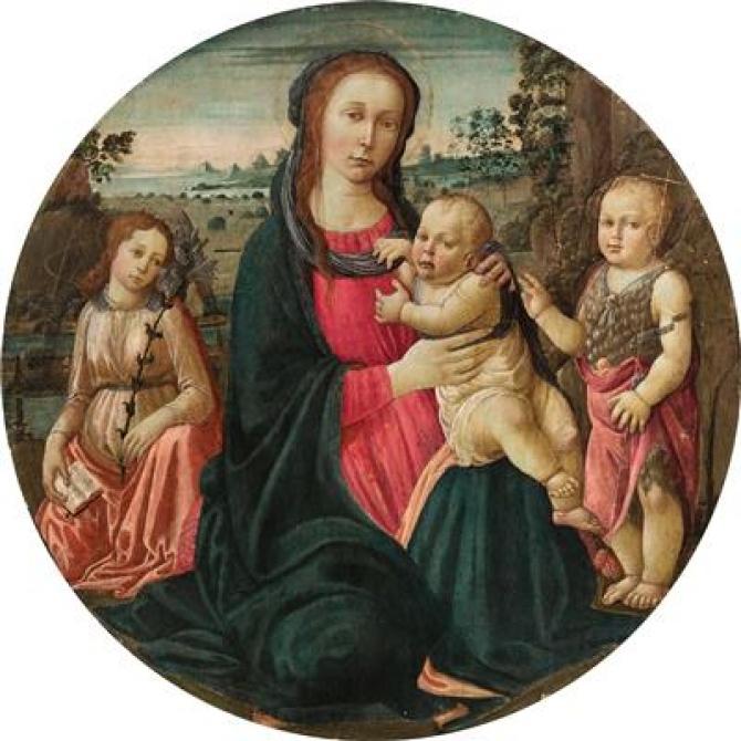 Jacopo di Arcangelo di-Jacopo, numit Jacopo del Sellaio, Madona cu Pruncul, Arhanghelul Gabriel și Sfântul Ioan copil
