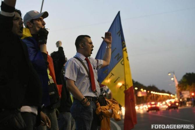 Imagine de la protestul de miercuri din Piața Victoriei