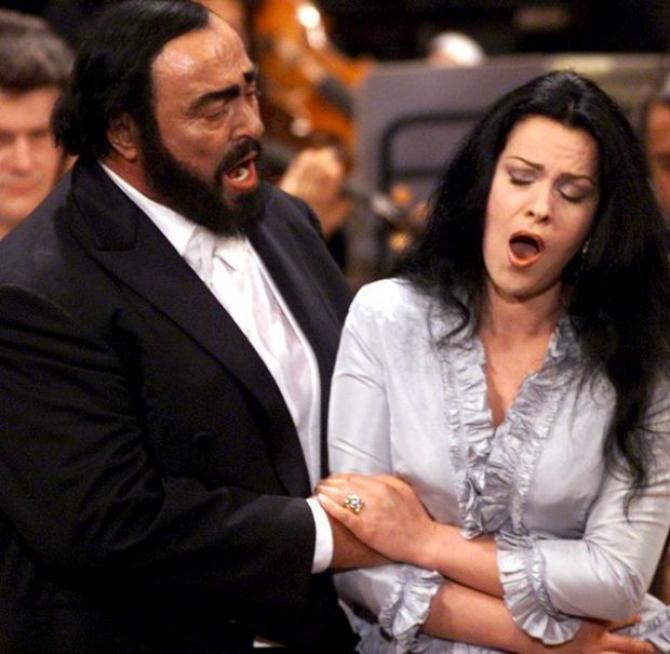 Angela Ghiorghiu alături de Luciano Pavarotti