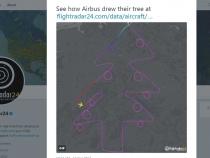Brad de Crăciun, desenat cu un Airbus, deasupra Germaniei - VIDEO