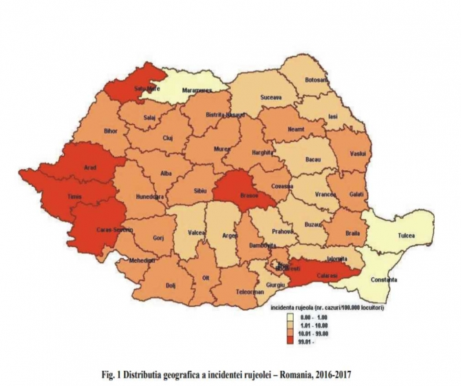 Distributia geografica a incidentei rujeolei in perioada 11-15.12.2017. foto: Centrul Național de Supraveghere și Control al Bolilor Transmisibile