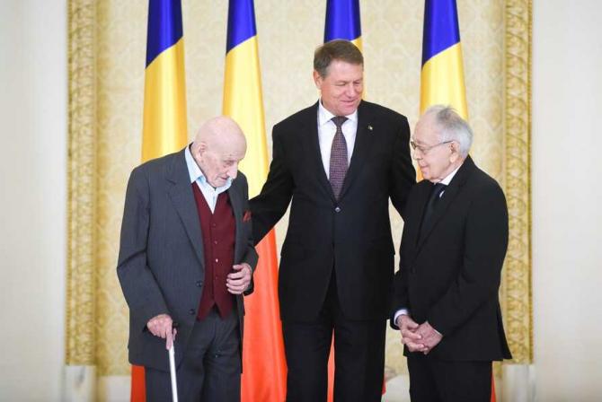 Neagu Djuvara, Klaus Iohannis, Mihai Şora în septembrie 2016
