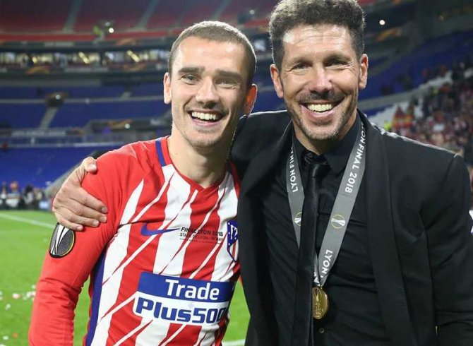 Griezmann şi Simeone. foto: Atlético de Madrid / @AtleticodeMadrid - facebook