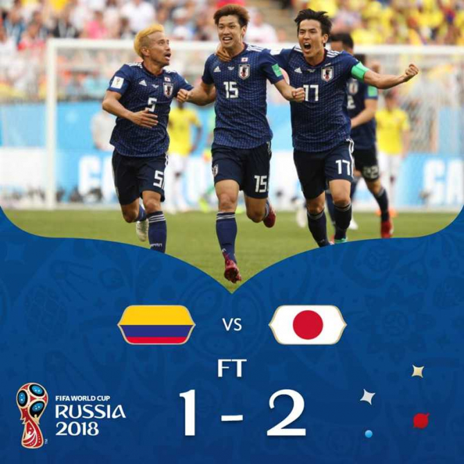 Columbia - Japonia, scor final. @fifaworldcup / facebook