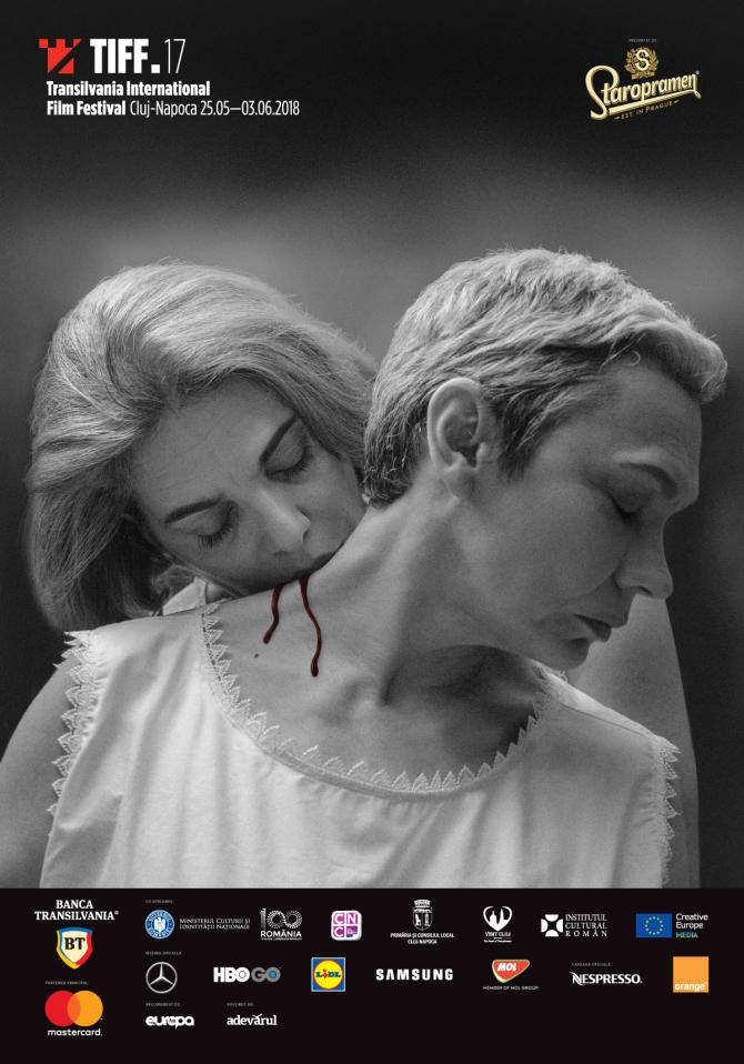 Afișul festivalului, o replică vampirescă a unor celebre cadre din Persona, cu Oana Pellea si Maia Morgenstern