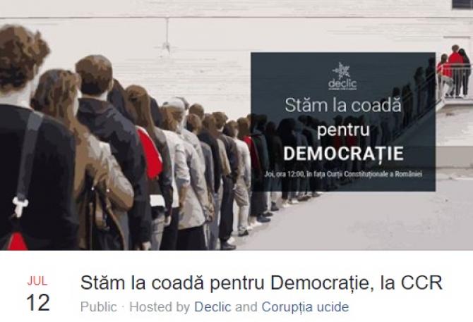 """""""Stăm la coadă pentru Democrație, la CCR"""", mișcare din online pentru joi"""