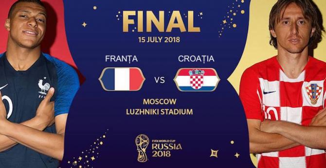 Franța - Croația rezultat. Finala Campionatului Mondial Rusia 2018