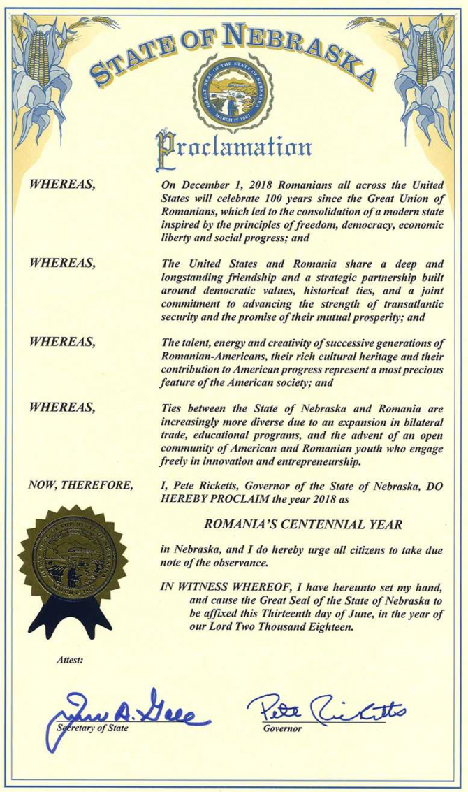 Nebraska a proclamat anul 2018 drept Anul Centenarului României