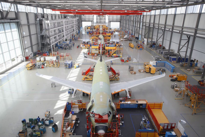 Linie asamblare avioane. foto: airbus.com