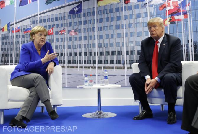 Angela Merkel, alături de Donald Trump. FOTO Agerpres/AP
