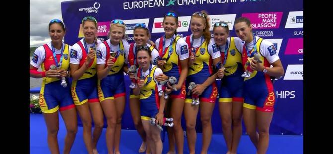 Campionatele Europene de canotaj pentru seniori, Glasgow. Echipajul 8+1 feminin. foto: facebook