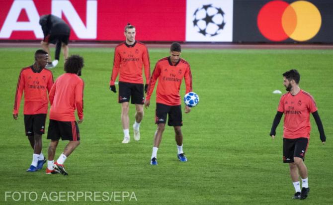 Jucatorii Realului la sedința de antrenament  pe stadionul celor de la AS Roma