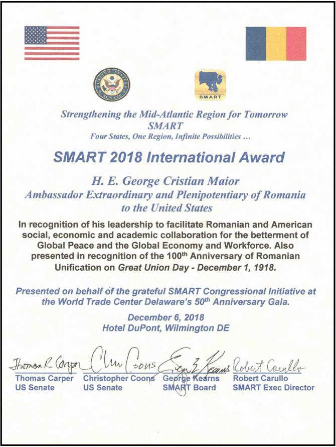 Maior, premiu important primit în SUA