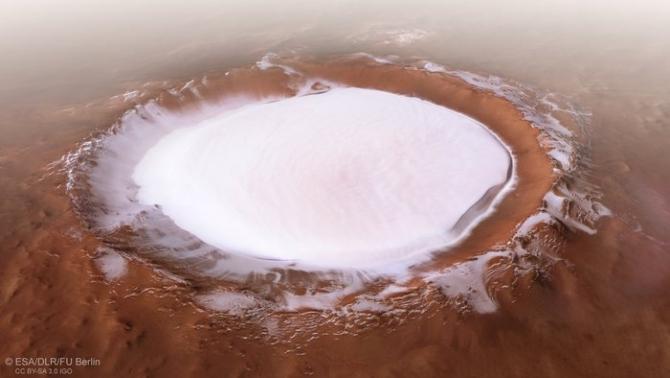Peisaj hibernal idilic pe Marte. foto: esa.int