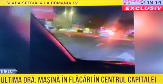 O mașină a luat foc