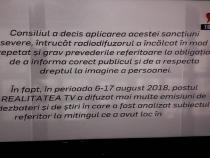 Suspendare Realitatea Tv. Mesajul Uniunii Ziariștilor din România