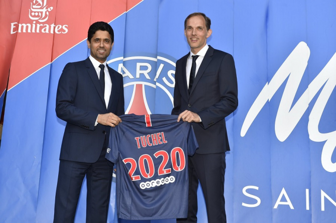 Președintele Paris Saint-Germain Nasser Al-Khelaïfi și antrenorul Thomas Tuchel, PSG. foto: @PSG / facebook