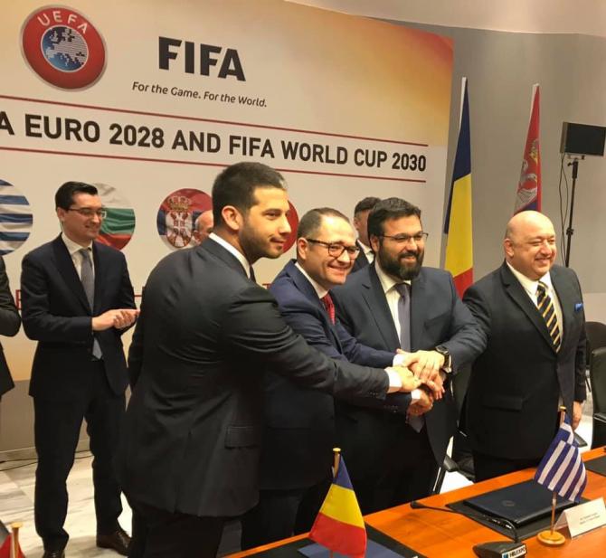 Memorandumul de înţelegere pentru constituirea Comitetului iniţial de organizare în vederea candidaturilor comune pentru organizarea UEFA EURO 2028 şi a Cupei Mondiale de fotbal din 2030