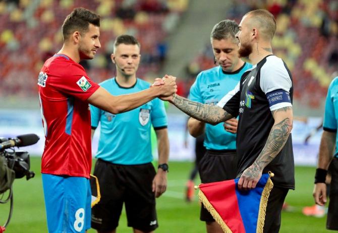 FCSB - Astra, capitani Filip și Alibec. foto: @FCSBOfficial - FB