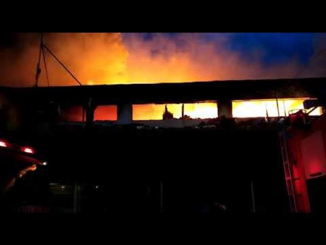 Incendiu depozit Tulcea - Foto ISU Delta