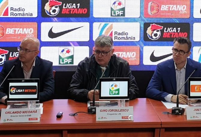Gino Iorgulescu la conferinta de presă. Anunț vânzare drepturi Tv. foto: LPF