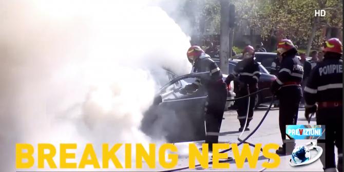 O mașină a luat foc pe un bulevard din Capitală