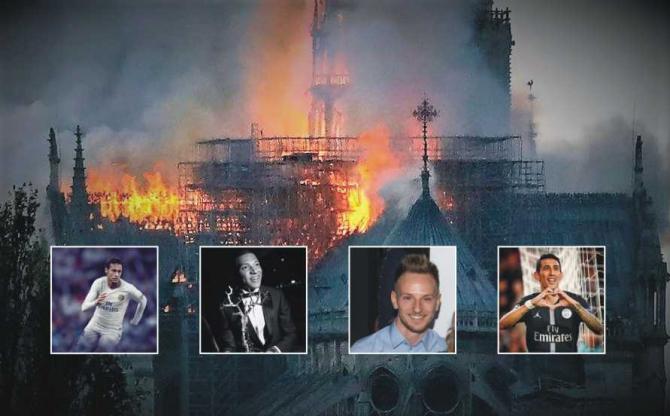Fotbaliști solidari după incendiul de la Notre Dame