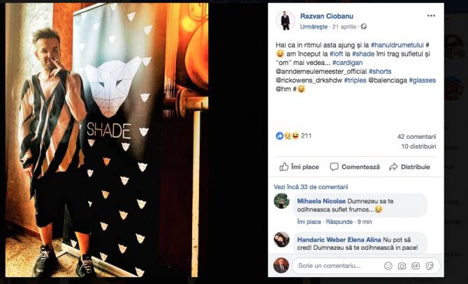 Razvan Ciobanu, ultima postare pe Facebook
