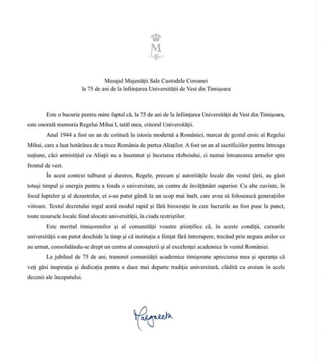 Mesajul Casei Regale a României la 75 de ani de la înființarea Universității de Vest din Timișoara