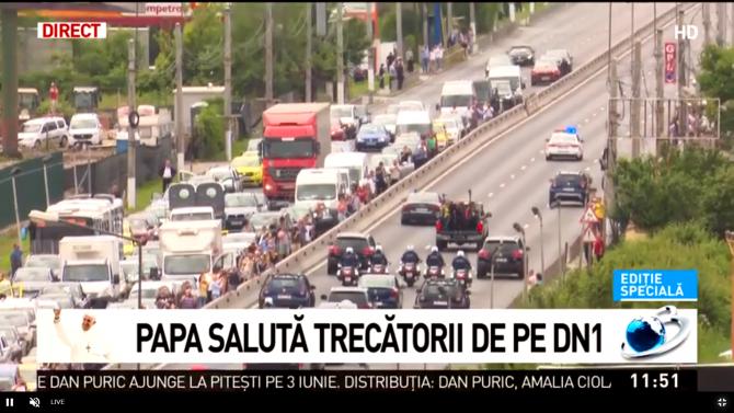 Papa Francisc în România. Captură Antena 3