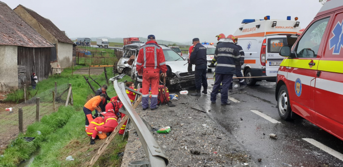 Accident grav pe Dn1. FOTO: ISU Brașov