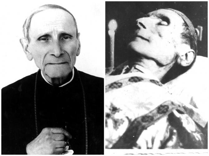 foto 1: PS Iuliu Hossu, la Căldărușani, 1968 (se observă crucea primită de la Papa Paul al VI-lea) foto 2: PS Iuliu Hossu, imediat după moarte – Spitalul Colentina din București, 28.05.1970. SURSA FOTO: eparhiaclujgherla.ro