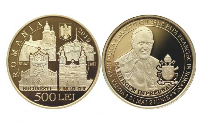 Papa Francisc în România - BNR lansează monede speciale din aur și alamă