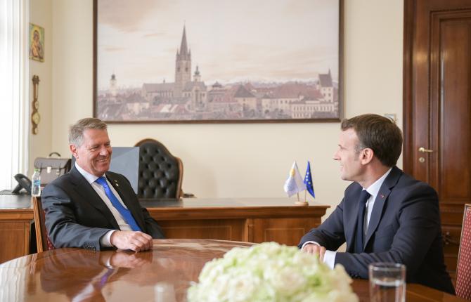 Klaus Iohannis - Emmanuel Macron, la Summitul UE de la Sibiu