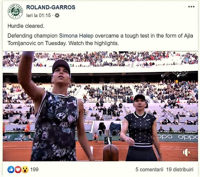 Simona Halep - Ajla Tomljanovic prima victorie la Roland Garros 2019