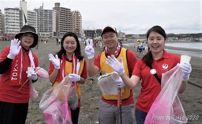 Reciclare și curatarea plajelor în Japonia Tokyo 2020. foto: @tokyo2020 - FB