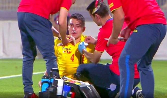 Ionuț Nedelcearu, lovit în meciul cu Malta. foto: captură video