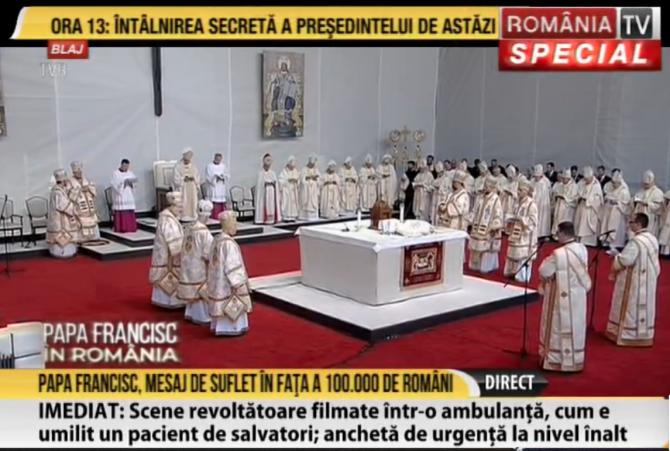 Captură RTV. Papa Francisc la Blaj